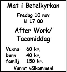 After Work / Tacomiddag @ Betelkyrkan | Norrbottens län | Sverige