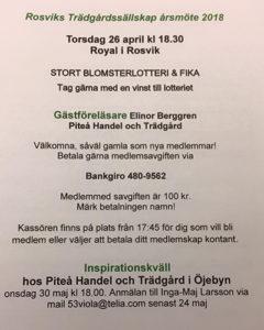 Årsmöte Rosvik Trädgårdssällskap @ Royal, Rosvik | Norrbottens län | Sverige